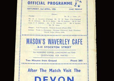 Hartlepool v Wrexham 02.04.1955 3-0