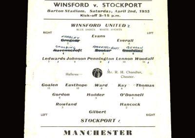 Winsford v Stockport Res 02.04.1955