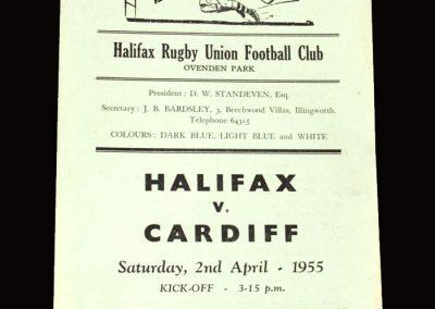 Halifax v Cardiff (Rugby Union) 02.04.1955