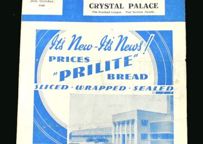 Southampton v Crystal Palace 26.10.1940