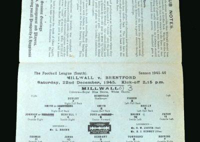 Millwall v Brentford 22.12.1945