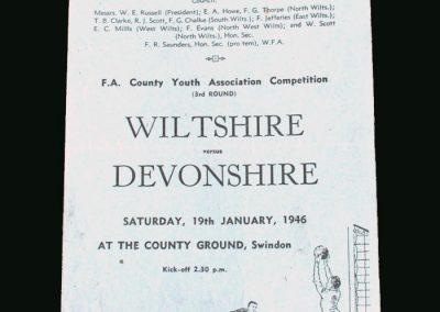 Wiltshire v Devonshire 19.01.1946 (Youth Game)