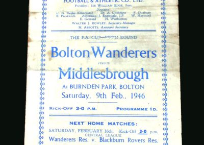 Bolton v Middlesbrough 09.02.1946 (FA Cup 5th Round)