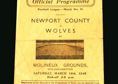 Wolves v Newport 16.03.1946