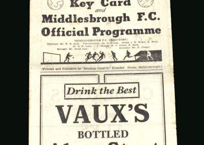 Middlesbrough v Sunderland 09.11.1946