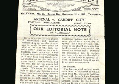 Arsenal Reserves v Cardiff Reserves 26.12.1946 (Bastins last game)