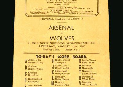 Wolves v Arsenal 31.08.1946