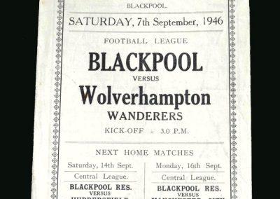 Wolves v Blackpool 07.09.1946