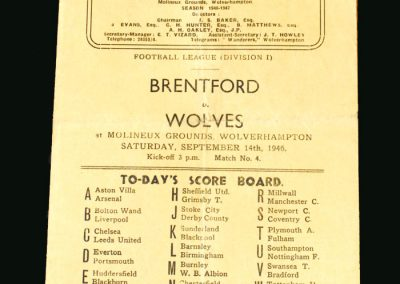 Wolves v Brentford 14.09.1946