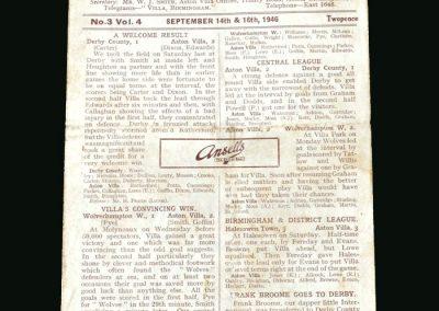 Wolves v Aston Villa 16.09.1946