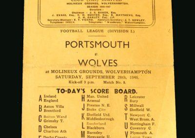 Wolves v Portsmouth 28.09.1946