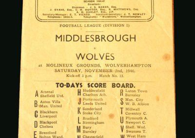 Wolves v Middlesbrough 02.11.1946