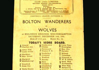 Wolves v Bolton 14.12.1946