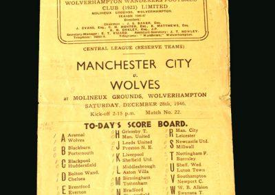 Wolves Reserves v Man City Reserves 28.12.1946