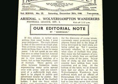 Wolves v Arsenal 28.12.1946
