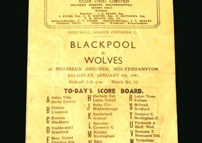 Wolves v Blackpool 04.01.1947