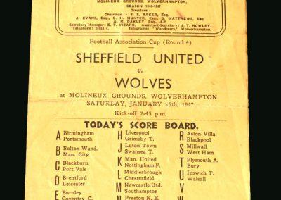 Wolves v Sheff Utd 25.01.1947 (FA Cup 4th Round)