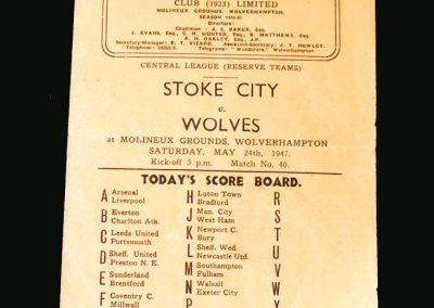 Wolves Reserves v Stoke Reserves 24.05.1947
