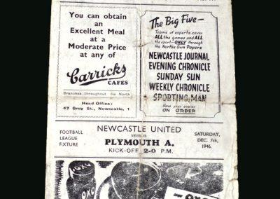 Newcastle v Plymouth 07.12.1946