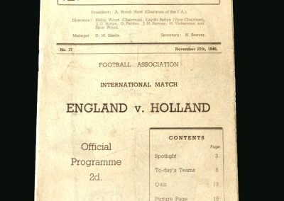 England v Holland 27.11.1946