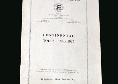 Portugal v England 25.05.1947 (Tour Report)