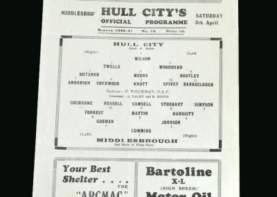 Hull v Middlesbrough 05.04.1941 (last home game for Hull for 3 years. Camsell scores 5 as Boro win 8-0)