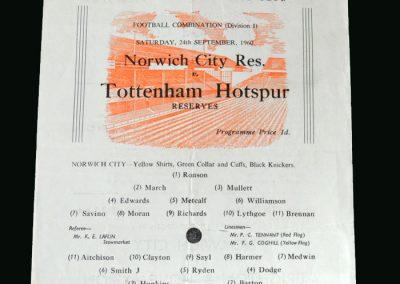 Spurs v Norwich 24.09.1960