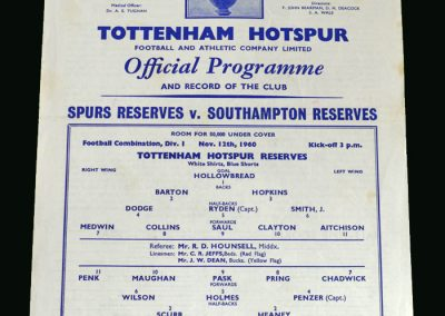 Spurs v Southampton 12.11.1960