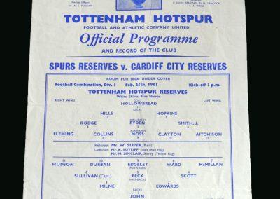 Spurs v Cardiff 25.02.1961
