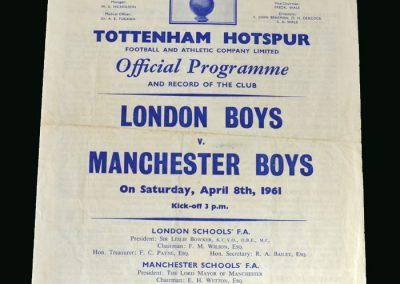 London Boys v Manchester Boys 08.04.1961