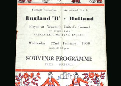 England b v Holland B 22.02.1950