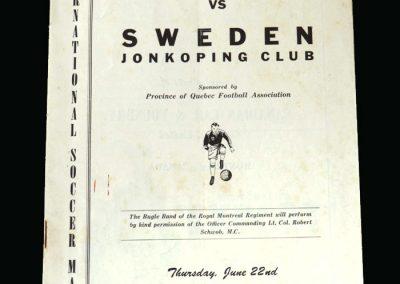 England B v Sweden 22.06.1950 (Played at Quebec)