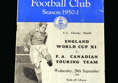 England World Cup 11 v Canadian Tourists 20.09.1950 (Charity Shield)