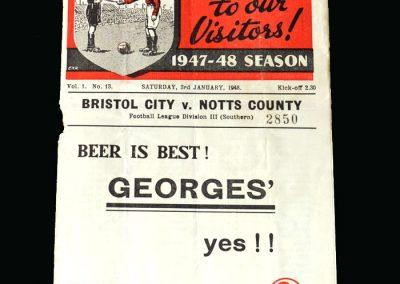 Notts County v Bristol City 03.01.1948