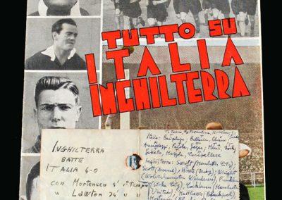 Italy v England 16.05.1948 (Ticket [reverse] and Magazine)