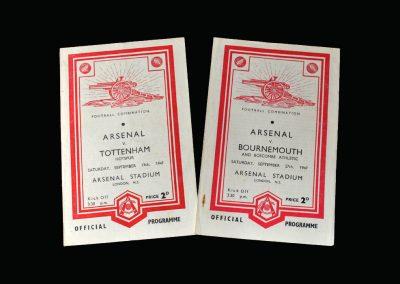 Arsenal v Spurs 13.09.1947 | Arsenal v Bournemouth 27.09.1947