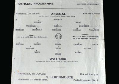 Arsenal v Watford 01.10.1947