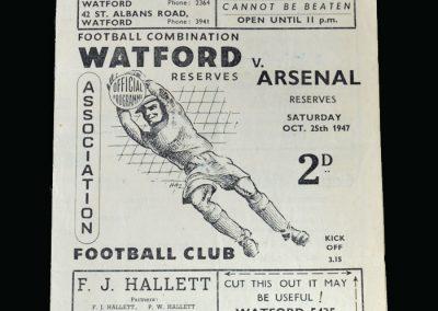 Arsenal v Watford 25.10.1947
