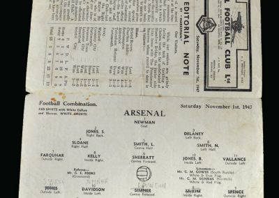 Arsenal v Chelsea 01.11.1947 (In between clubs again, Tommy Lawton was given a run out in the reserves and put thousands on the gate)