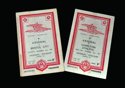 Arsenal v Bristol City 13.12.1947 | Arsenal v Charlton 25.12.1947