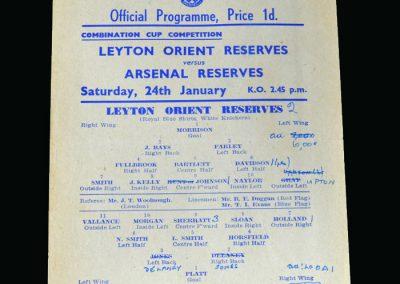 Arsenal v Leyton Orient 24.01.1948