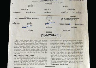 Arsenal v Millwall 05.04.1948