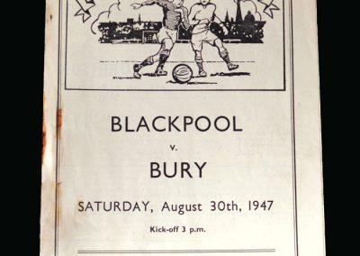 Blackpool Reserves v Bury Reserves 30.08.1947