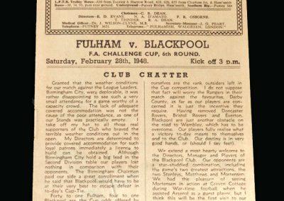 Blackpool v Fulham 28.02.1948 (FA Cup 6th Round)