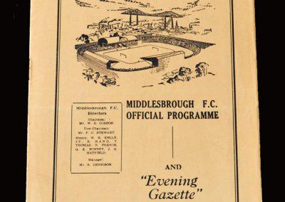 Middlesbrough v Barnsley 17.09.1955 (1st Team Debut)