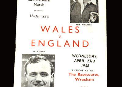 Wales v England 23.04.1958 (Under 23)