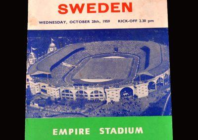 England v Sweden 28.10.1959 (2nd and Last Game)