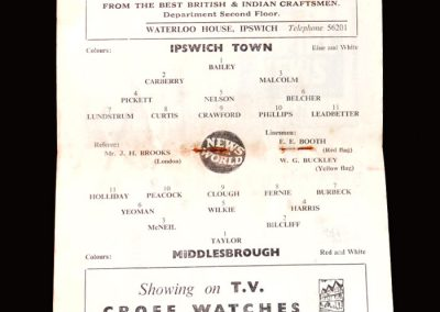 Ipswich v Middlesbrough 14.11.1959 (Round robin sent by players to directors seeking his removal as captain)