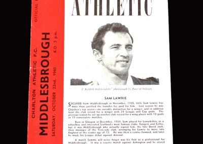 Charlton v Middlesbrough 22.10.1960 (6-6 Hat Trick but only one point)