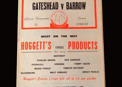 Gateshead v Barrow 24.08.1959